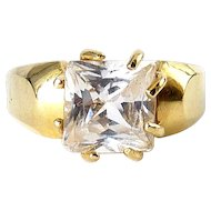 10K Yellow Gold 8-Prong Ring Setting for 10mm Square Stone, 4.5 Grams