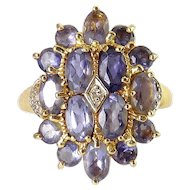 10K Yellow & White Gold Iolite & Diamond Cluster Ring, 3.5 Grams