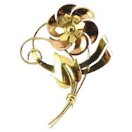 Vintage 10K Walter Lampl Yellow & Rose Gold Flower Brooch Pin