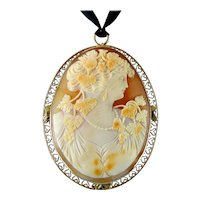 Antique 10K Gold Large Filigree Frame Shell Cameo Pendant, Maenad, Bacchante Woman with Grapes, 2 1/4 Inches