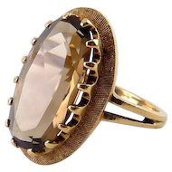 10K Yellow Gold & Smoky Quartz Solitaire Ring, Mid Century