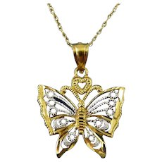 10K Yellow & White Gold Lacy Butterfly Pendant Necklace