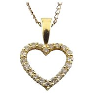 10K yellow Gold Heart with CZs, 14K GF Necklace