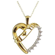 10K Gold Heart Pendant Necklace with I Love You Script and Diamond Accents