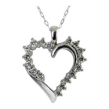 "10K White Gold & Diamond Open Heart Pendant Necklace, 18"" Long Chain"