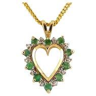 10K Yellow Gold, Emerald & Diamond Open Heart Pendant Necklace
