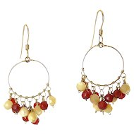 10K Gold  Hoop Earrings with Garnet and Mother of Pearl Wire-Wrapped Beads, Pierced