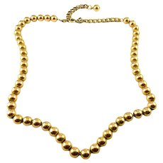 1950's Gold-Filled Beaded Necklace with Extender, 6mm Beads, 17 1/2 Inches