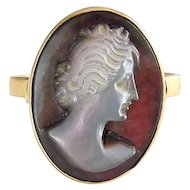 14K Yellow Gold Carved Abalone Cameo Ring, 2.6 Grams