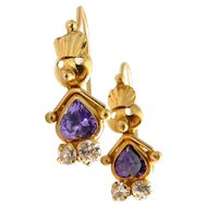 14K Gold and Purple & Crystal CZ Whimsical Figural Girl Earrings, Pierced