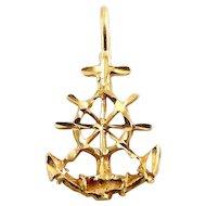 14K Gold Anchor with Ship's Wheel Pendant