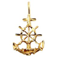 14K Gold Anchor with Ship's Wheel Pendant