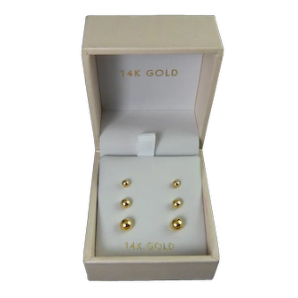 14K Yellow Gold Trio of Ball Stud Earrings, Graduated Sizes