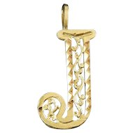 14K Yellow Gold Letter J Monogram Pendant - Diamond Cut Filigree