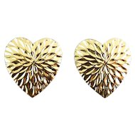 14K Yellow Gold Heart Earrings, Diamond Cutting, Pierced