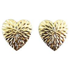 14K Yellow Gold Heart Earrings, Diamond Cutting, Pierced