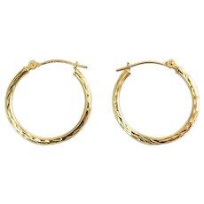 14K Yellow Gold Diamond Cut Round Hoop Earrings, Pierced