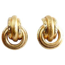 14K Diamond-Cut Tubular Hoop Doorknocker Earrings, Pierced