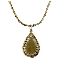 Large 14K Yellow Florentine Gold Teardrop Pendant with Pearls, G.F. Necklace Chain