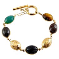 14K Gold Scarabs & Carved Scarabs Link Bracelet with Toggle Clasp