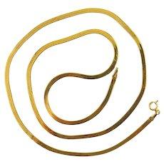 14K Yellow Gold Herringbone Link 20 Inch Chain Necklace, 3.7 Grams, Italian