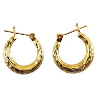 14K Yellow Gold Diamond Cut Puffy Hoops, Pierced