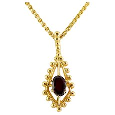 14K Yellow Gold Garnet Solitaire in Beaded Kite Setting Pendant, Wheat Chain Necklace, 5.8 Grams