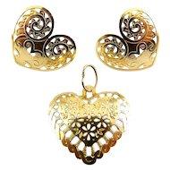 Romantic 14K Lacy Pierced Heart Earrings & Heart Pendant