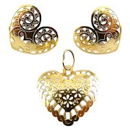 Romantic 14K Lacy Pierced Heart Earrings & Heart Pendant