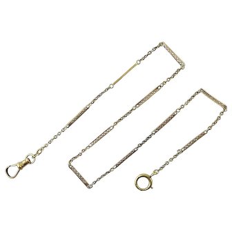 Antique 14K Lattice Bar & Rolo Link Pocket Watch Chain, Spring Ring & Swivel Hook, 4.4 Grams