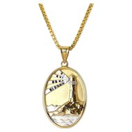 14K Lighthouse Light of the World Prayer Pendant & 24 Inch Necklace