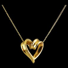 14K Yellow Gold Looped Floating Heart Pendant on Gold-Filled Necklace Chain