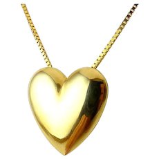 14K Yellow Gold Milor Puffy Heart Pendant, Box Chain Necklace