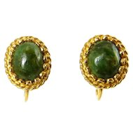 1950's Nephrite Jade & 14K Gold Screw On Earrings, 2.7 Grams
