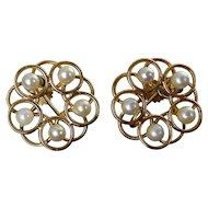 14K Gold & White Pearl 5-Ring Flower Earrings, Screw-On Back