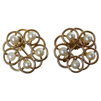 14K Gold & White Pearl 5-Ring Flower Earrings, Screw-On Back