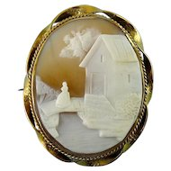 Antique 14K Gold Twist Frame Shell Cameo, Rebekkah at the Well, Rebecca at the Well