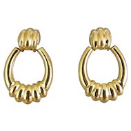 14K Yellow Gold Ribbed Doorknocker Hoop Style Earrings, Pierced