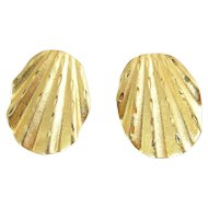 14K Gold Ribbed & Textured Oval Shell Earrings, Diamond Cutting, Pierced
