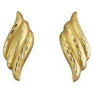 14K Gold Satin Finish Ribbed Waves Earrings, Diamond Cutting