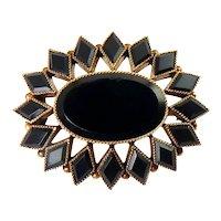 Victorian 14K Rose Gold, Jet Black Glass Oval Pin / Pendant