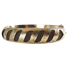 Victorian 14K Rose Gold & Woven Hair Hinged Bangle Bracelet, 16.5 Grams