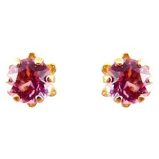 14K Yellow Gold & Ruby Round Solitaire Stud Earrings
