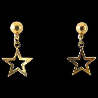 14K Yellow Gold Small Open Star Drop Earrings, Pierced