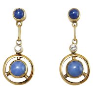 14K Yellow Gold & Star Sapphire Drop Earrings with Diamonds, Two Sapphires in Each Earring