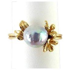 Antique Art Nouveau 14K & Tahitian Pearl Plumeria Flower Ring, WS & Co.