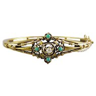 Antique Victorian 14K Gold, Persian Turquoise & Pearl Hinged Bangle Bracelet, 15.8 Grams