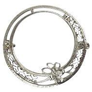 Victorian Edwardian 14K White Gold Filigree Circle Pin with Flower