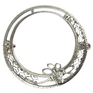 Victorian Edwardian 14K White Gold Filigree Circle Pin with Flower