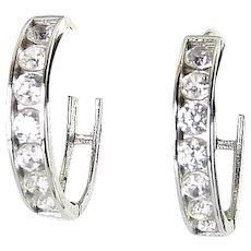 14K White Gold & Channel Set CZ Stones Hinged Hoop Earrings
